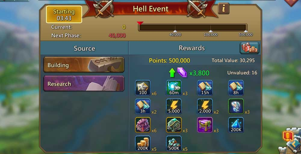 Hell Event and Gems for Stage 3