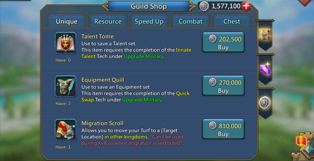 Guild Coins Purchases