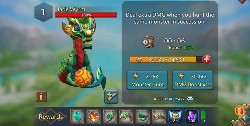 Jade Wyrm Monster Hunt Screen