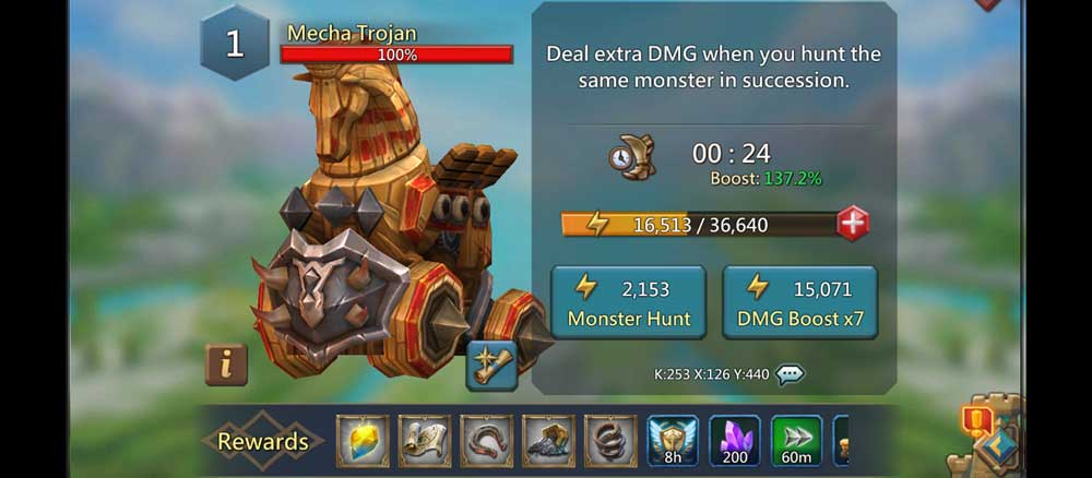 Mecha Trojan Attack Screen for Monster Hunt