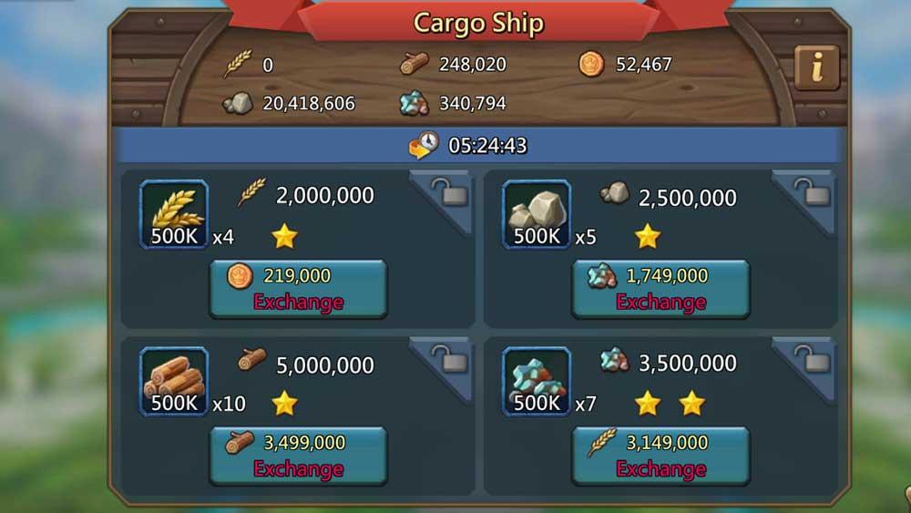 Cargo Ship Exchange Options