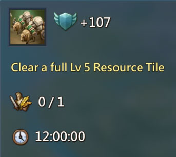 Clear Level 5 Resource Tile 107 Points