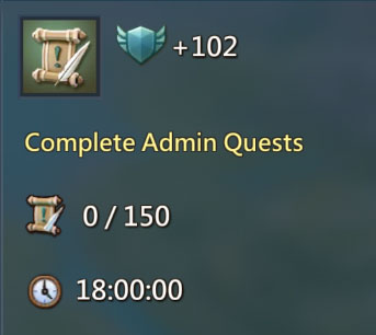 Complete Admin Quests 102 Points