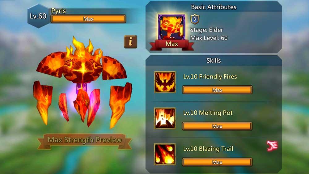 Pyris Familiar Skills Screen