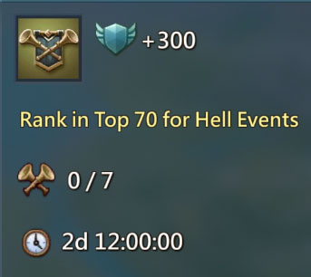 Rank Top 70 Hell Event 300 Points