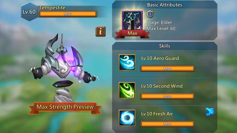 Tempestite Familiar Skills Screen