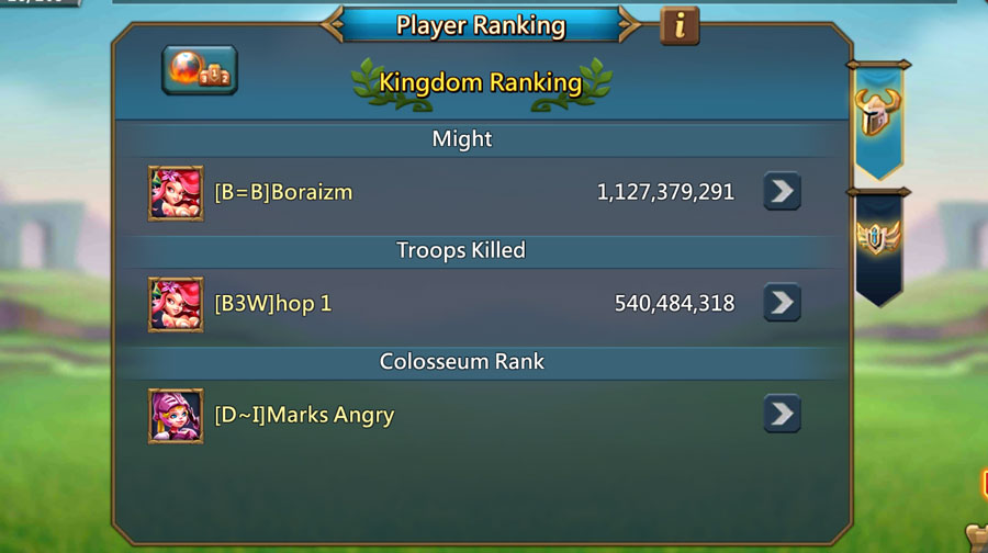 Number 1 in Colosseum on Player Ranking