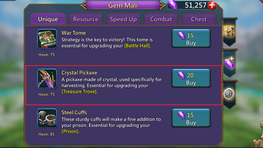 Crystal Pickaxe Purchase