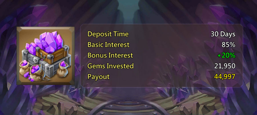 Deposit 30 days in Treasure Trove