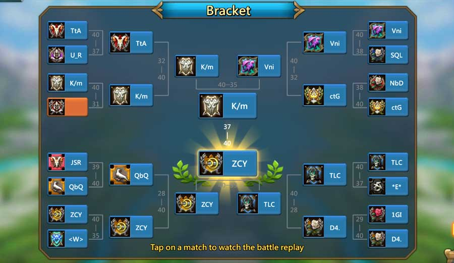 Battle Bracket for Guild Showdown