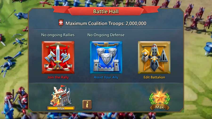 Battle Hall Screen in Lords Mobile