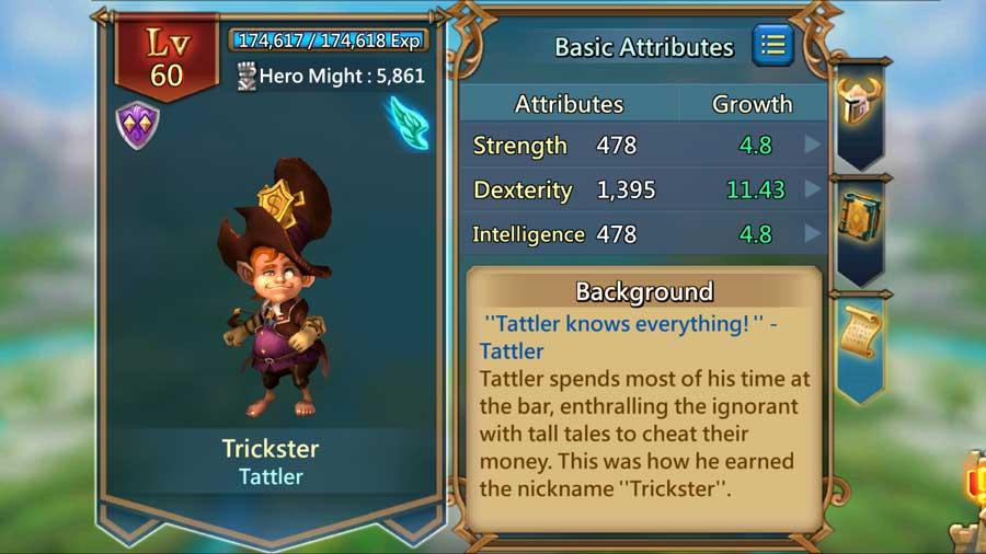 Trickster Hero Screen