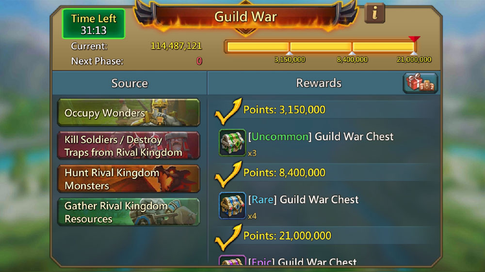 Guild War Rewards in KVK