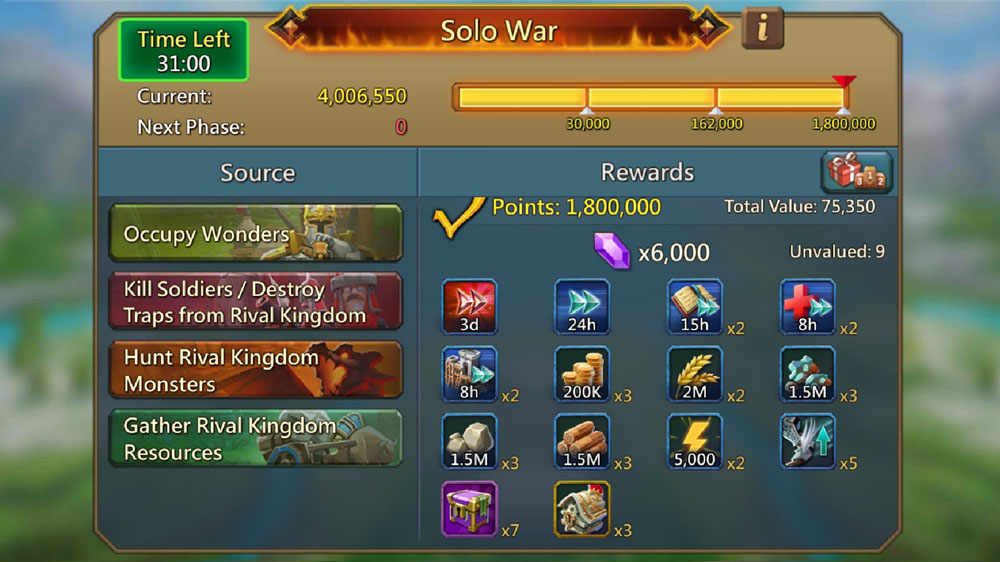 Solo 3 Rewards in KVK