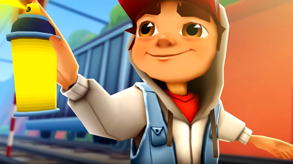 Subway Surfers Spraying Wall with Paint