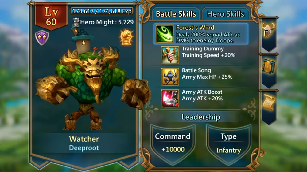 Watcher Hero Battle Skills and Specification