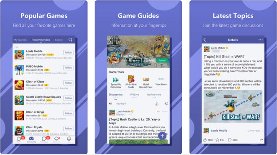 Screenshots of WeGamers