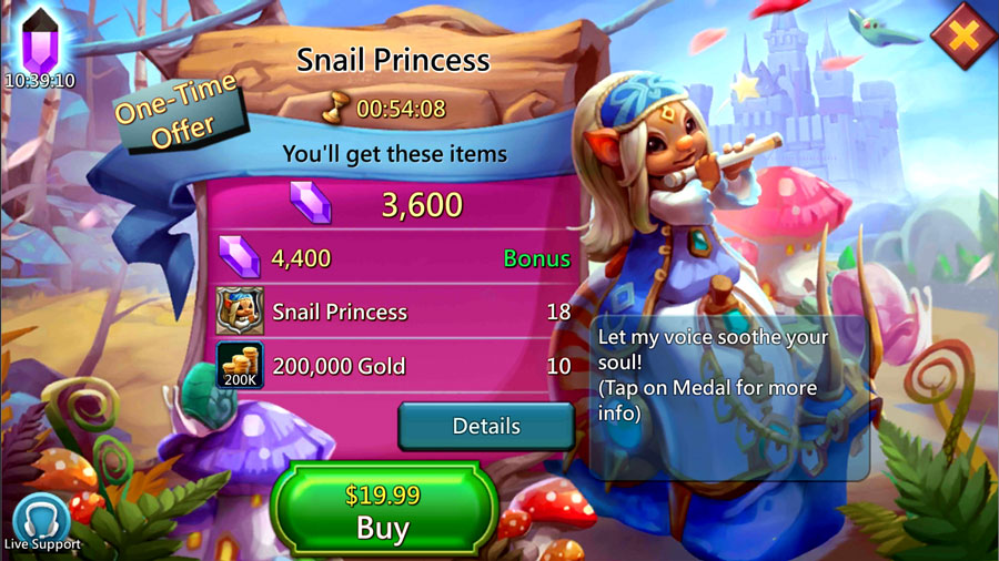 Buying $20 Pack for Snail Princess