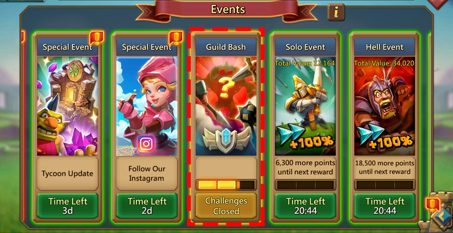 Guild Bash in Events Screen