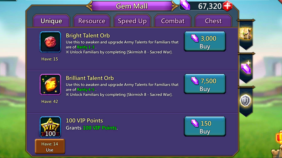 Gem Mall Brilliant Talent Orb and Bright Talent Orb