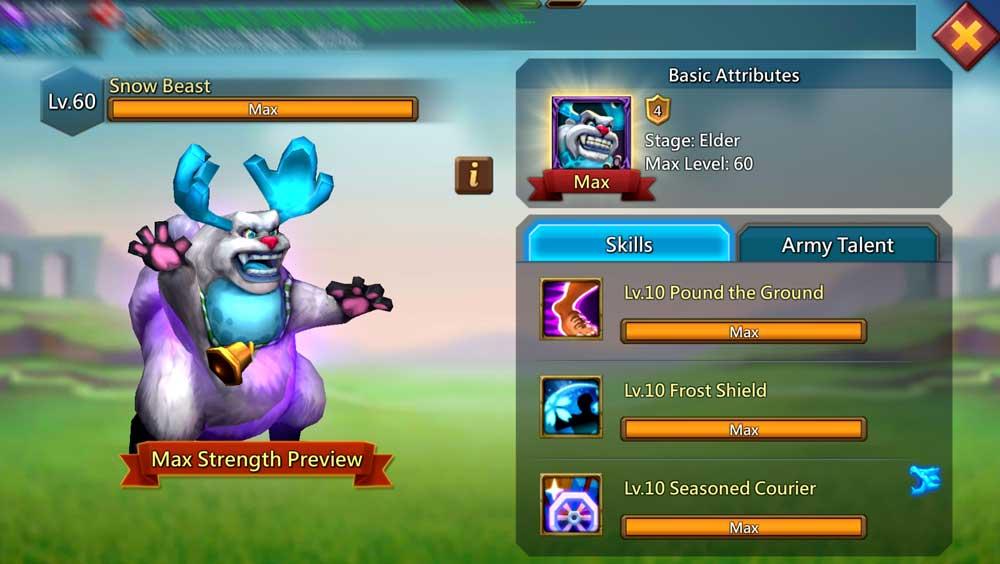 Snow Beast Familiar Skills