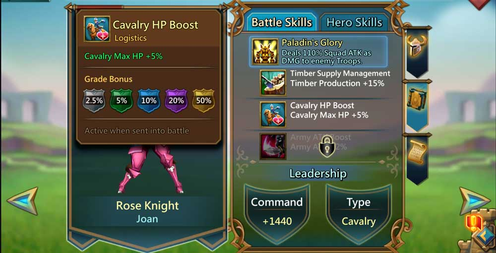 Rose Knight Stats Battle Skills