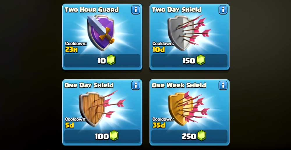 Paid Shields Clash of Clans
