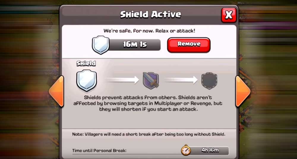 Shield Active Clash of Clans