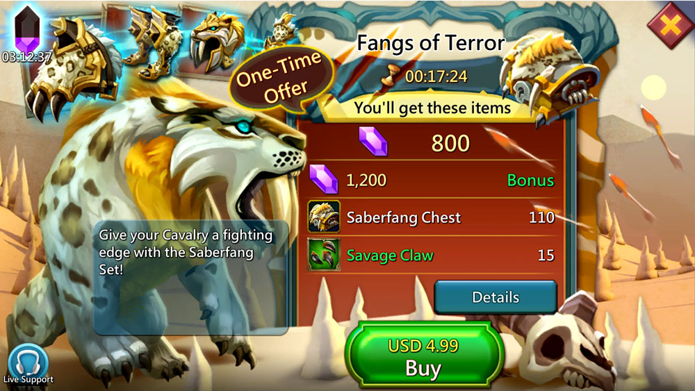 Saberfang Fangs of Terror Paid Pack