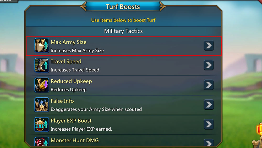 Max Army Boost