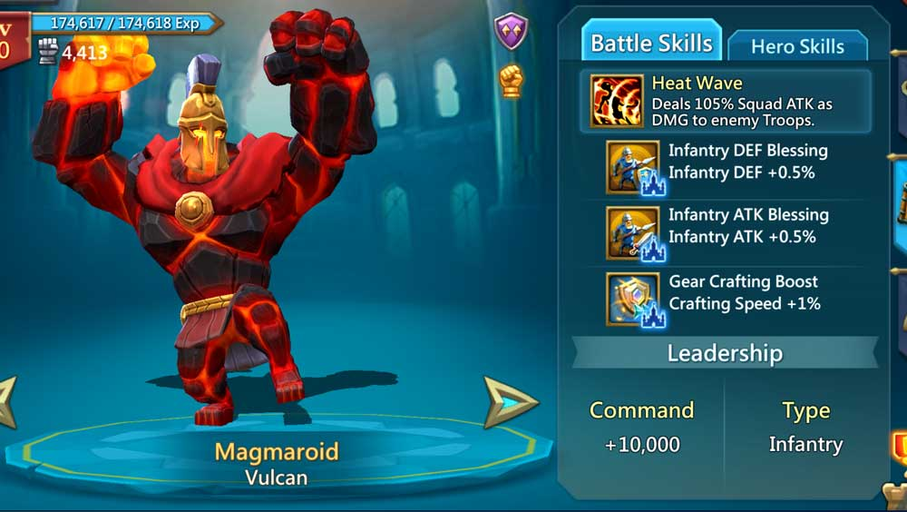 Magmaroid Hero Battle Skills Infantry