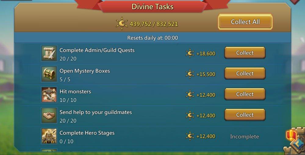 Divine Tasks in Lords Mobile
