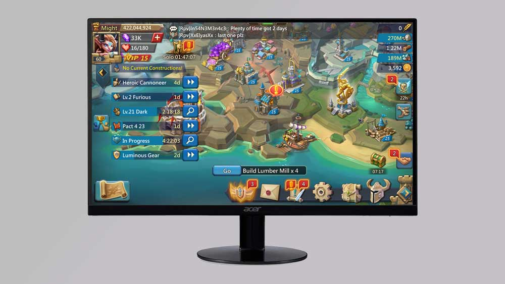 Acer SB220Q with Gaming on Screen
