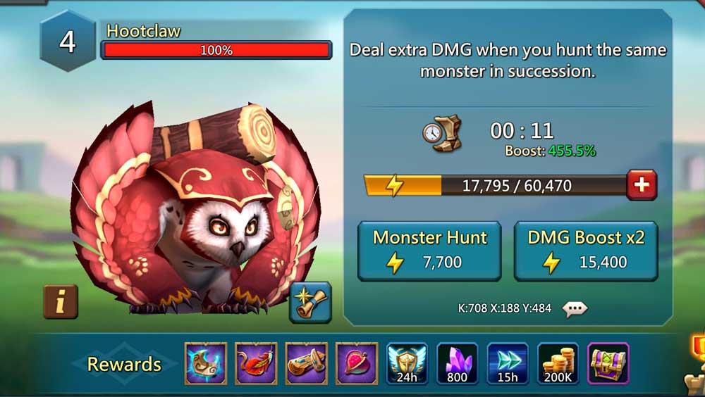 Hootclaw Monster Rewards
