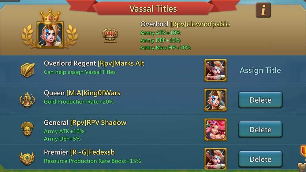 Overlord Regent and Good Vassal Titles