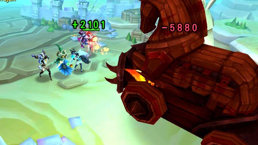Mecha Trojan Fighting Battle Against Heroes