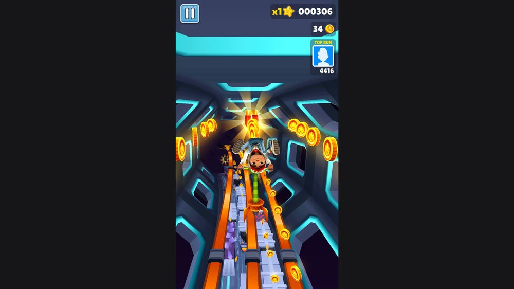 Playing Subway Surfers Upside Down