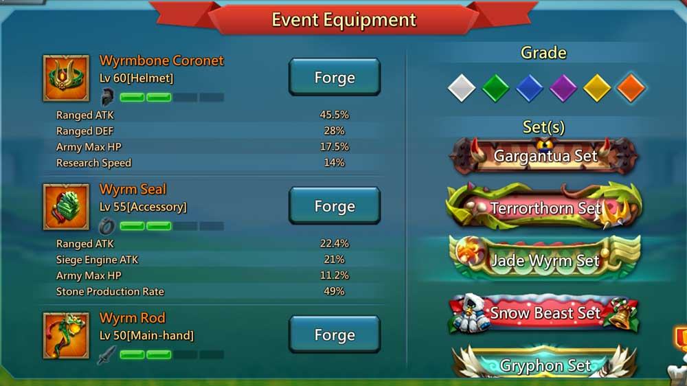Jade Wyrm Gear Options